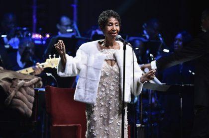 Un'immagine dell'ultima esibizione pubblica di Aretha Franklin a New York per l'Elton John Aids Foundation nel 2017