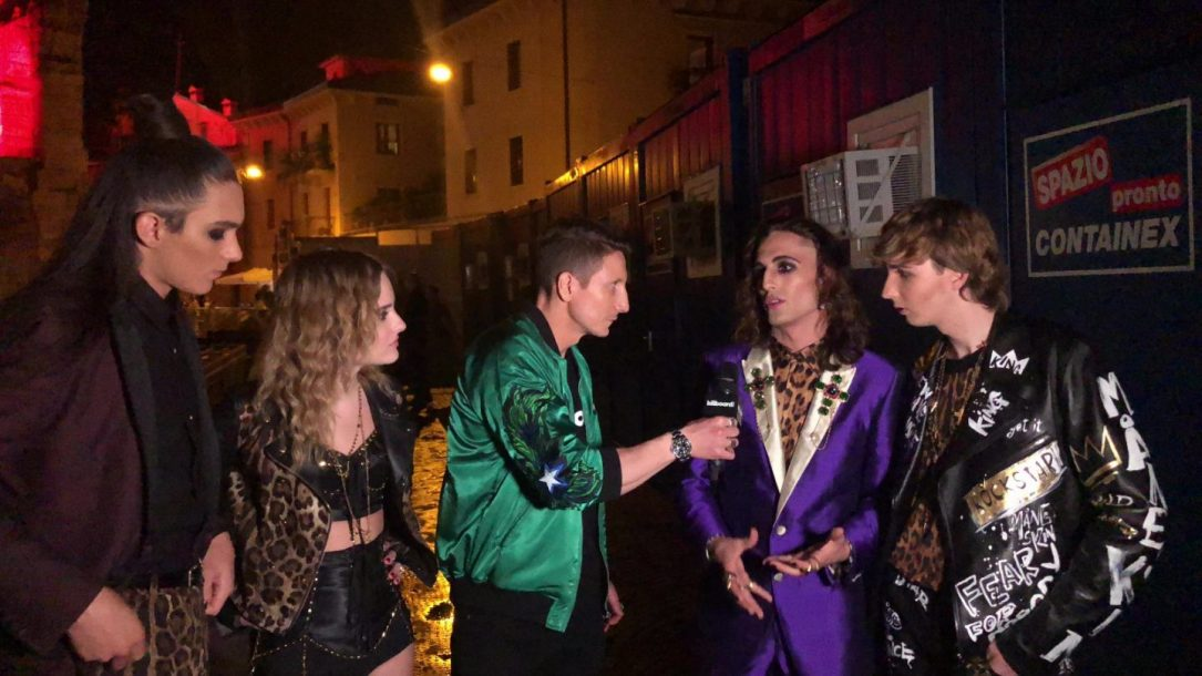 I Maneskin ai microfoni di Billboard Italia durante i Wind Music Awards
