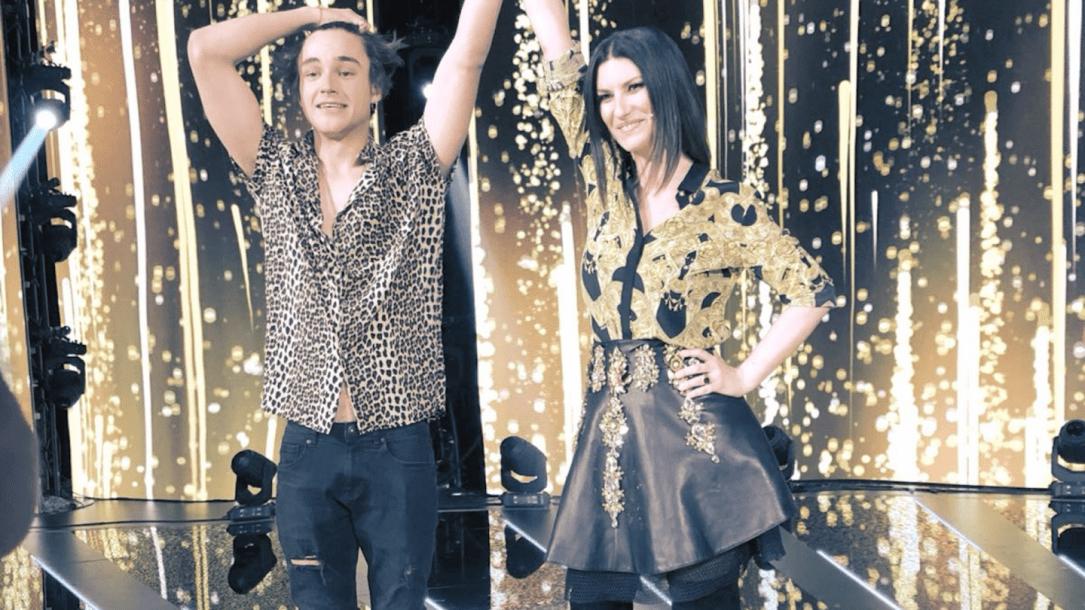 Laura Pausini e il vincitore di Factor X Pol Granch