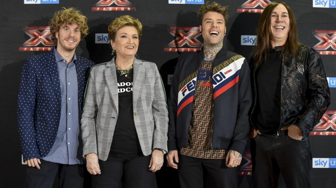 I giudici del live di X Factor 12. Da sinistra: Lodo Guenzi, Mara Maionchi, Fedez e Manuel Agnelli