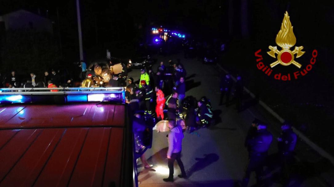 Strage in una discoteca a Corinaldo. Immagine dei Vigili del Fuoco